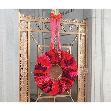 Red Satin Wreath with Red Hearts Roses Standing Spray