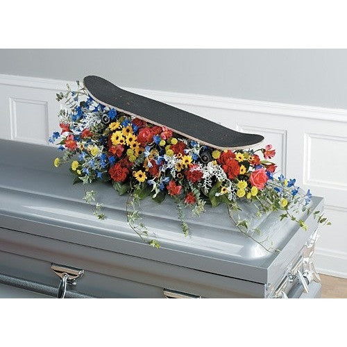 Skating Board Sympathy Half Couch Casket Spray - Flowers by Pouparina
