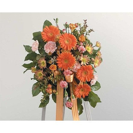 Orange Flowers and Ribbon Sympathy Standing Spray - Flowers by Pouparina