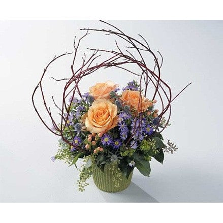 Purple and Yellow Sympathy Basket - Flowers by Pouparina