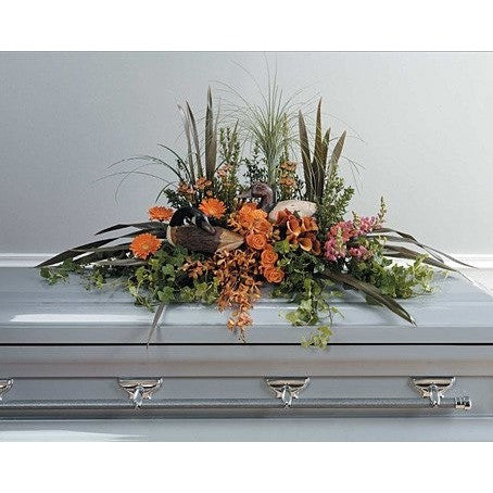 Hunting Lover Funeral Piece Casket Spray - Flowers by Pouparina