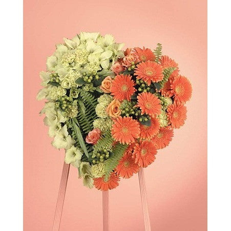 Half Orange Flowers and Half Green Flowers Heart Standing Spray - Flowers by Pouparina