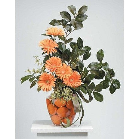 Orange Gerberas with Oranges Inside the Base Sympathy Basket - Flowers by Pouparina