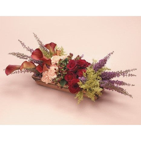 Redish Wicker Sympathy Basket - Flowers by Pouparina