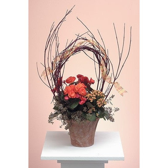 Mini Spray Orange Roses Sympathy Basket - Flowers by Pouparina