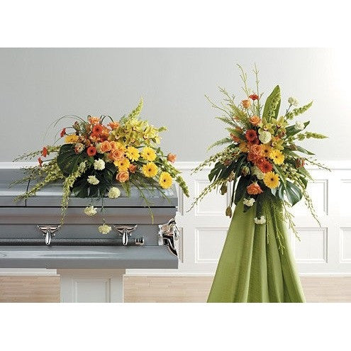 Green, Yellow and Orange Flowers Sympathy Package - Flowers by Pouparina