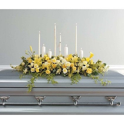 Yellow Flowers, Candles and Rosary Sympathy Casket Spray - Flowers by Pouparina