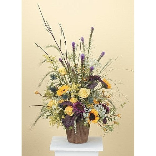 Purple,Yellow Sunflowers and Yellow Roses Sympathy Basket - Flowers by Pouparina