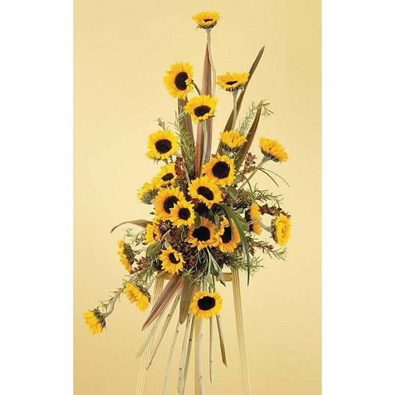 Sunflowers Sympathy Standing Spray - Flowers by Pouparina