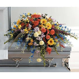 Colorful Half Couch Sympathy Casket Spray - Flowers by Pouparina