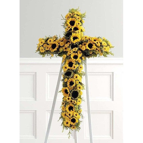 Yellow Sunflowers Cross Standing Spray - Flowers by Pouparina