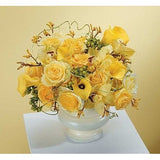 Yellow Roses, Mini Callas Lily and Orchids Sympathy Basket - Flowers by Pouparina