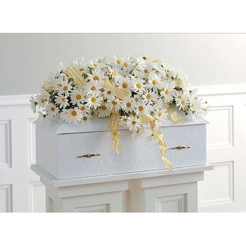 White Daisies Flowers and Ribbon Baby Sympathy Casket Spray - Flowers by Pouparina