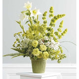 Green Gladioli, Roses, Bell of Ireland, Chrysanthemums, White lilies and Altroemeria Sympathy Basket - Flowers by Pouparina