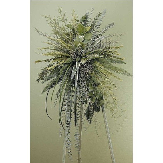 Green Monochromatic Sympathy Standing Spray - Flowers by Pouparina
