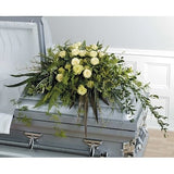 Green and Roses Half Couch Sympathy Casket Spray - Flowers by Pouparina