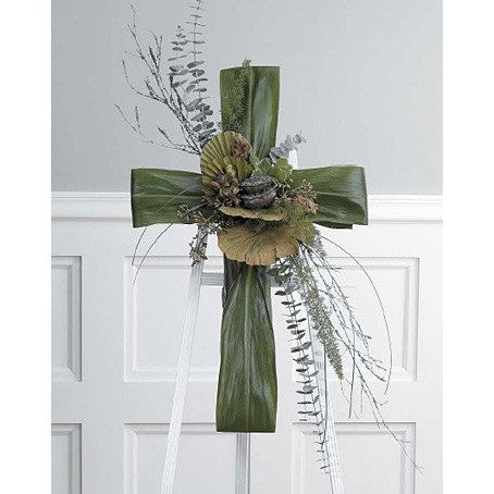Green Folliage Cross Standing Spray - Flowers by Pouparina