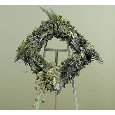 Green Monochromatic Square Shape Sympathy Standing Spray - Flowers by Pouparina