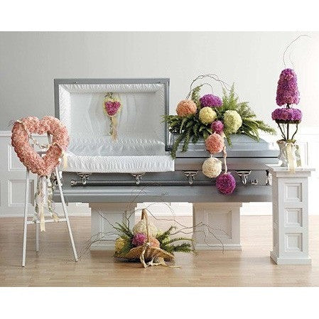 Pastel Standing Spray and Funeral Flowers Package with Hanging Carnation Balls - Flowers by Pouparina