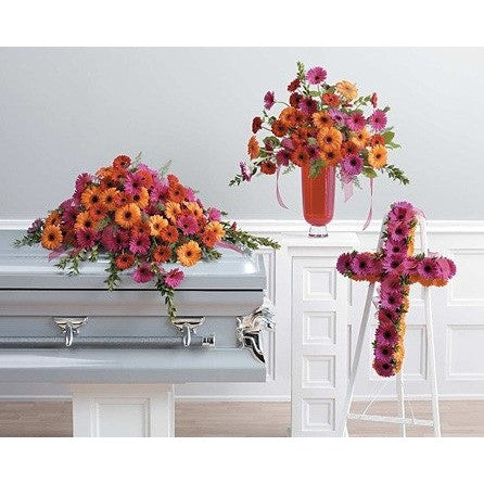 Red, Orange and Pink Gerberas 3 Pieces Sympathy Package - Flowers by Pouparina