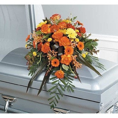 Calid Colors Half Couch Sympathy Casket Spray - Flowers by Pouparina