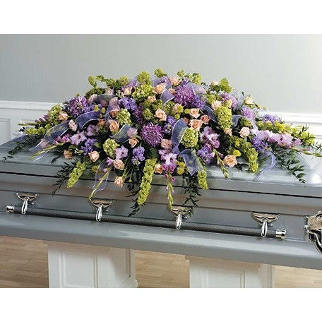 Green and Lavander Sympathy Casket Spray - Flowers by Pouparina
