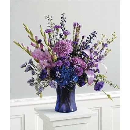 Lavender Gladioli, Blue Design Sympathy Floral Arrangement - Flowers by Pouparina
