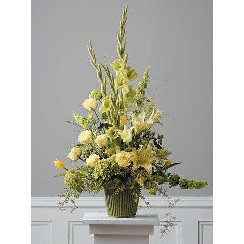 Green and Yellow Flowers Design Sympathy Basket - Flowers by Pouparina