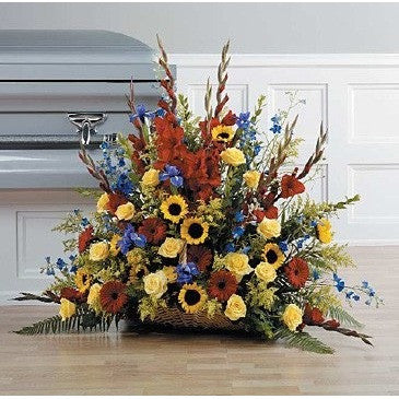 Colorful Basket, Red Gladioli, Sunflowers, Gerberas and Roses Sympathy Basket - Flowers by Pouparina