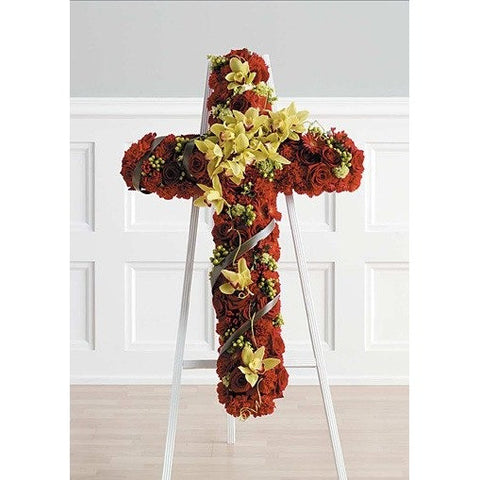 Rose and Gerber Daisy Cross Standing Spray