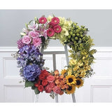 Colorful Wreath Standing Spray - Flowers by Pouparina
