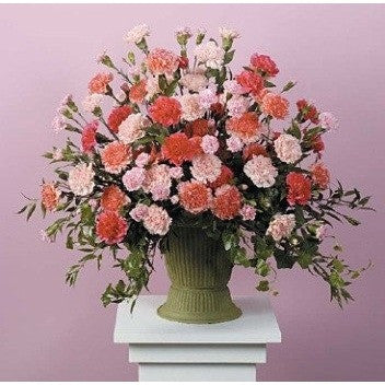 Pink Carnations Sympathy Basket - Flowers by Pouparina