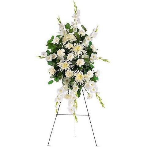 Green Monochromatic Square Shape Sympathy Standing Spray