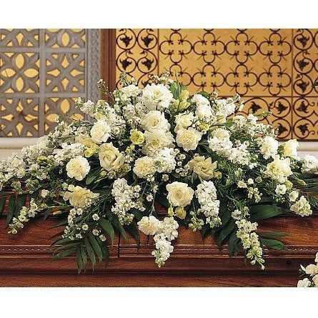 Pure White Casket Spray - Half Couch - Flowers by Pouparina
