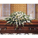 Deluxe Pure White Casket Spray - Full Couch - Flowers by Pouparina