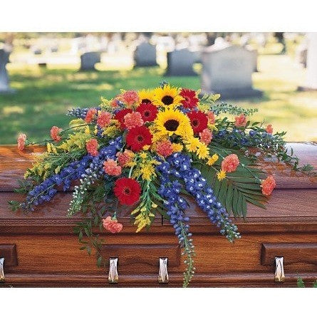 Vibrant Summer Casket Spray - Flowers by Pouparina
