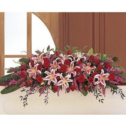 Amethyst and Ruby Casket Spray - Flowers by Pouparina