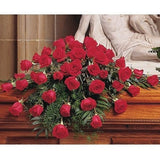 Blooming Red Roses Casket Spray - Flowers by Pouparina
