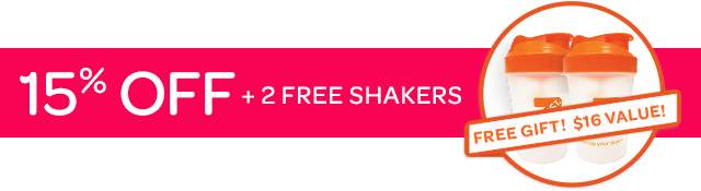 15% Off + 2 Free Shakers