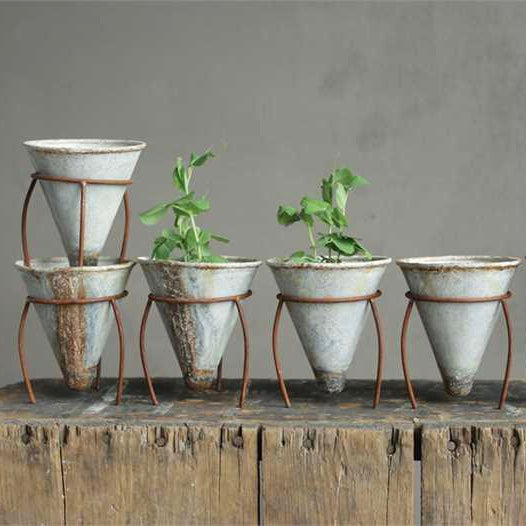 Zinc Flower Pot Cone Collection