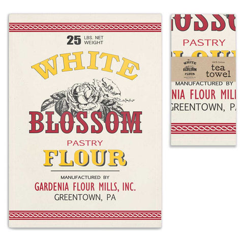 White Blossom Tea Towel