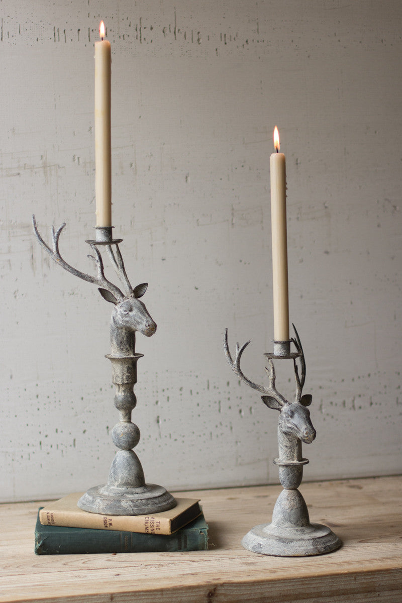 Deer Taper Candle Holder Set