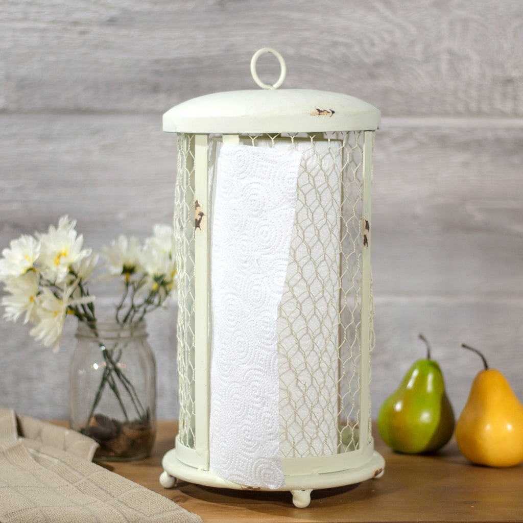 White Metal Paper Towel Holder