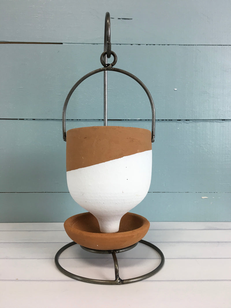 Hanging Funnel Vase on Stand