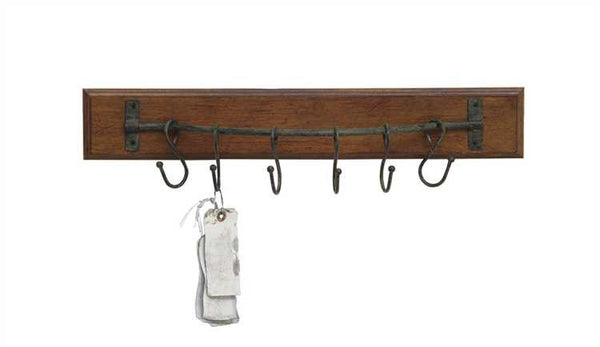 Wooden Rack with Metal Hooks