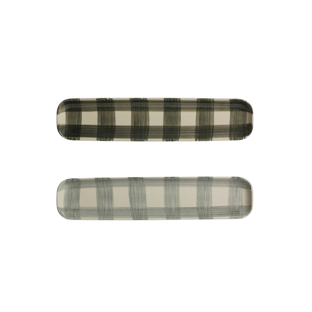 Hand-painted Buffalo Check Platter Set