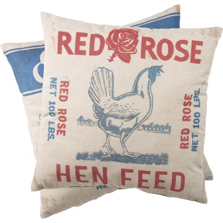 Red Rose Hen Feed Pillow