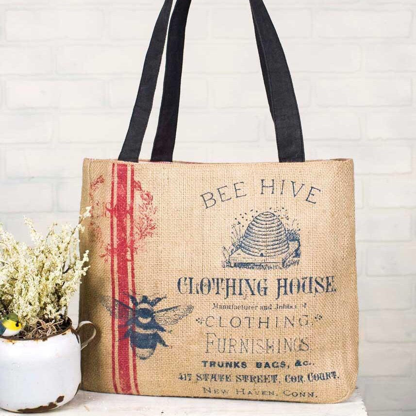 Bee Hive Clothing House Burlap Bag