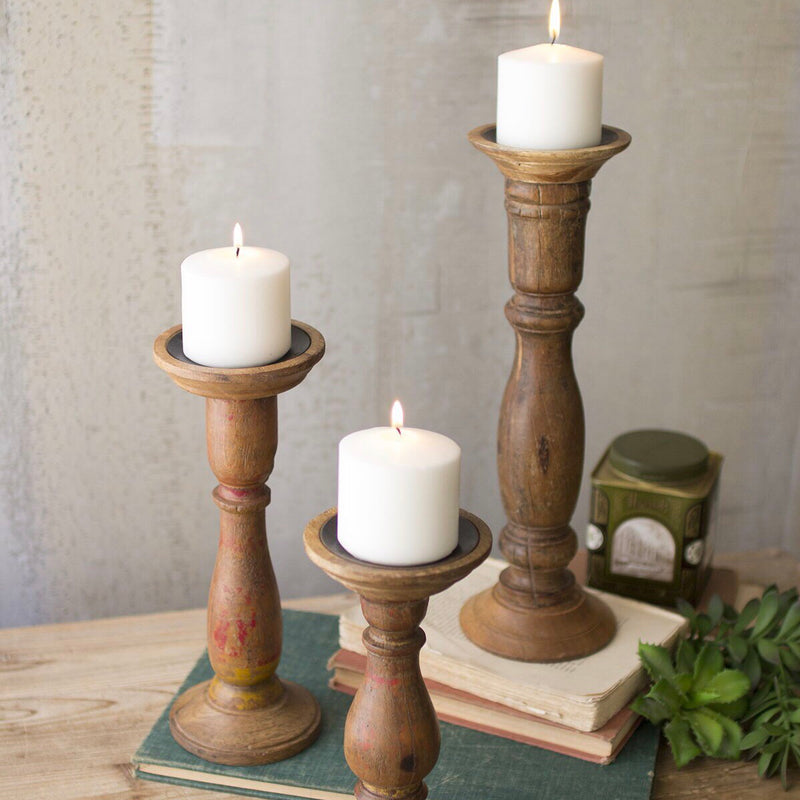 Turned Wooden Candle Sticks