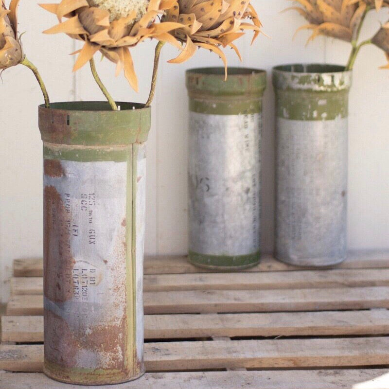 Recycled Metal Ammunition Canister Vase
